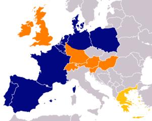 Aldi erorbert Europa. Orange: Aldi Süd. Blau: Aldi Nord. Aldi Süd Griechenland ist ausgegliedert worden. Quelle: wikicommons