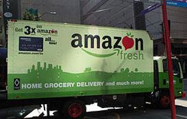 LKW des Frisch-Dienstes Amazon fresh in den Straßen von Seattle. Quelle: wikicommons
