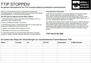 Stopp TTIP: Protest auf Papier
