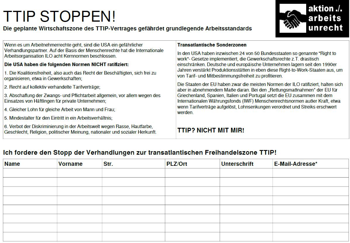stopp ttip protest auf papier arbeitsunrecht in deutschland. Black Bedroom Furniture Sets. Home Design Ideas