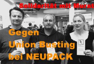 Elmar Wigand und Jessica Reisner von aktion ./. arbeitsunrecht e.V.  mit Murat G. auf der Streikkonferenz der Rosa-Luxemburg-Stiftung im Oktober 2014