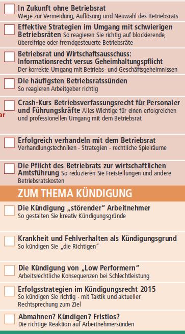 Ausschnitt aus dem Schreiner+Partner-Seminarprogramm 2015 (Quelle: screenshot schreiner-praxisseminare.de vom 11.2.2015, Auschnitt).