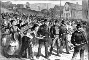 Pinkerton-Agenten eskortieren Streikbrecher in Buchtel, Ohio, 1884