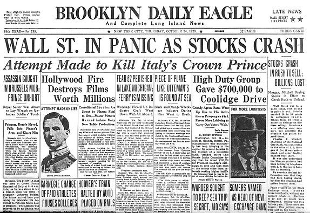 Schwarzer Freitag, der 13. Mai 1927 - Börsen-Crash in New York. Titelblatt des Brooklyn Daily Eagle