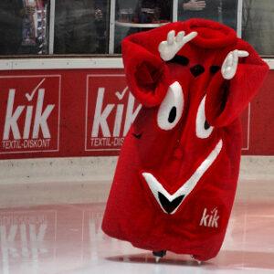 Kopofloses KiK-Maskottchen als Pausenclown beim Eihockey in Dortmund. (Quelle: Wikicommons)