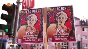 Proteste gegen KiK am 13. November 2015, Foto: WISO-Beitrag (ZDF) vom 11. April 2016