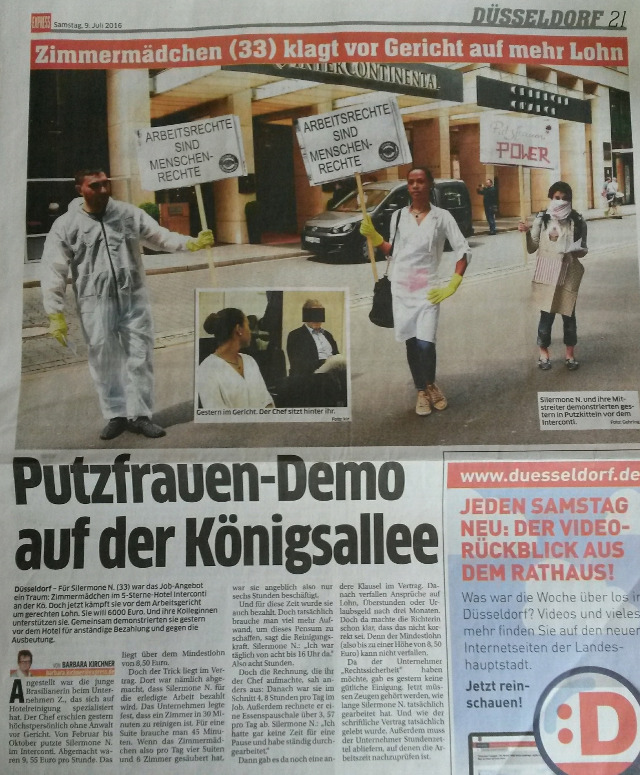 Express Düsseldorf vom 9. Juli 2016. Zingsheim: Putzfrauen-Demo auf der Königsallee