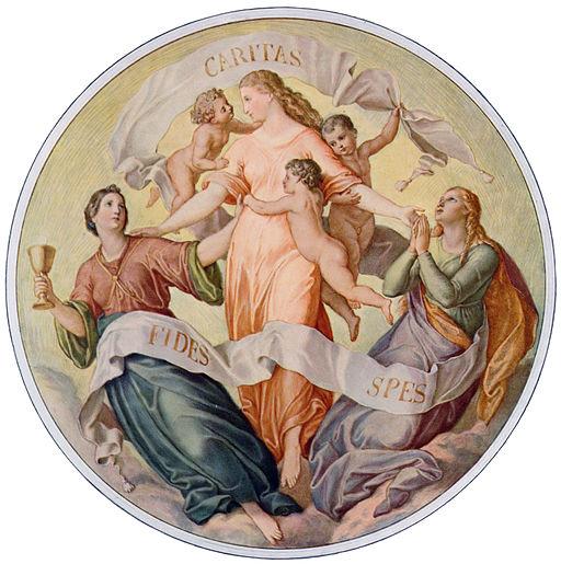 Fides, Spes und Caritas - Glaube, Hoffnung, Nächstenliebe von Julius Schnorr von Carolsfeld ( 26. März 1794 - 24. Mai 1872, gemeinfrei)