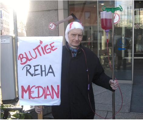 Protest gegen Privatisierung der Reha und den Median-Konzern, 13. Januar 2017 in Düsseldorf