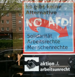 Aniti-AfD-Plakat beschmiert.