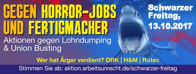 Freitag13 Online-Voting startet aktion./.arbeitsunrecht Rotec, H+M, Deutsches Rotes Kreuz