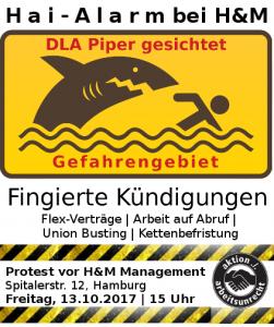 Warnschild: DLA Piper gesichtet. Hai-Alarm bei H&M
