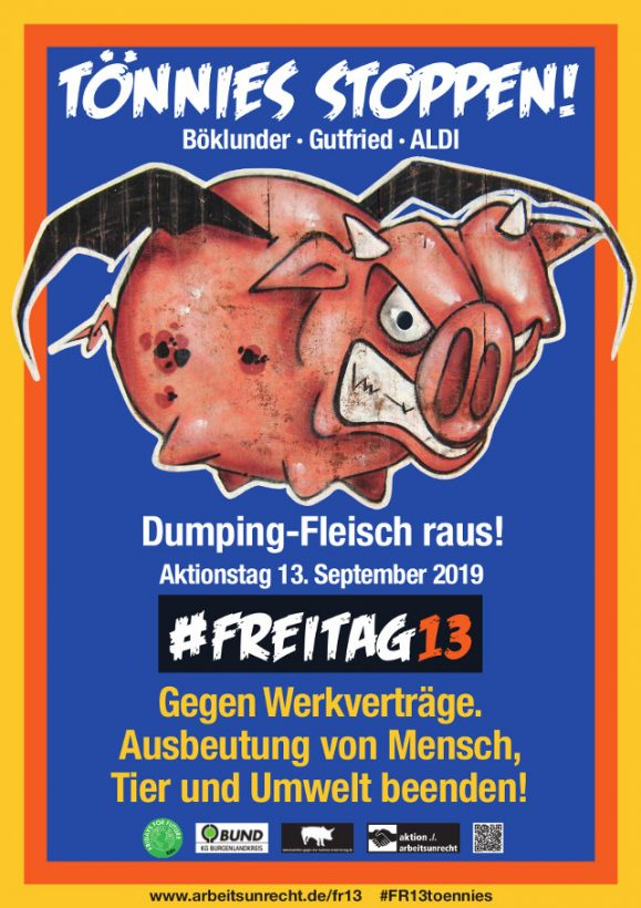 Tönnies stoppen! Dumping-Fleisch raus! Böklunder, Gutfried, Aldi-Fleisch bokottieren