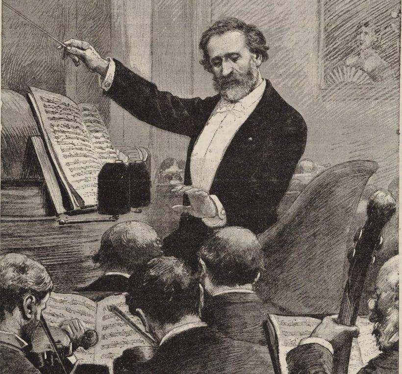 Guiseppe Verdi dirigiert 1880 in Paris die Oper Aida