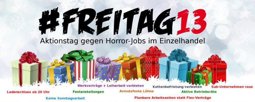 #Freitag13 Dezember 2019. Aktionstag gegen Horror.-Jobs im Einzelhandel