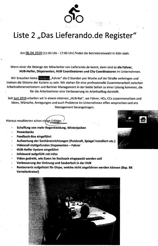 Wahlaushang lieferando liste 2 Köln