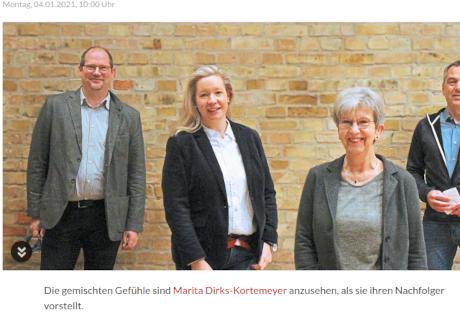 Foto Westfälische Nachrichten vom 4.1.2021. Jan Tietmeyer, links im Bild wird als neuer Geschäftsführer der Lebenshilfe vorgstellt.