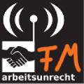 Logo arbeitsunrecht FM: aktion gegen arbeitsunrecht Handshake mit Sende-Symbol und den Buchstaben FM im Graffitti-Stil