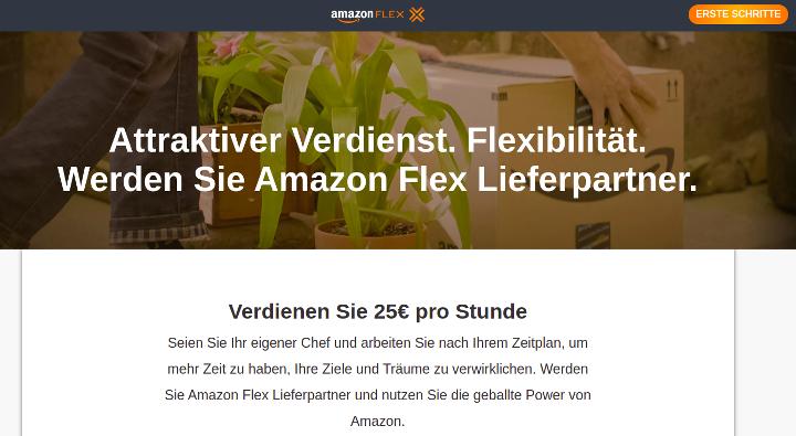 Bildschirmfoto Startseite Amazon Flex. 25 Euro Stundenlohn. Werden Sie ihr eigener Chef!
