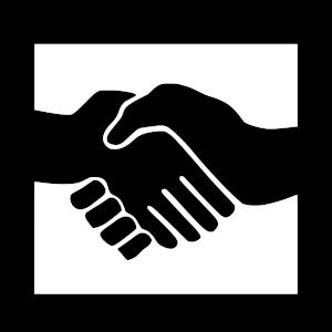 Logo Aktion gegen Arbeitsunrecht Handschlag schwarz auf weiiß mit schwarzer Umradung