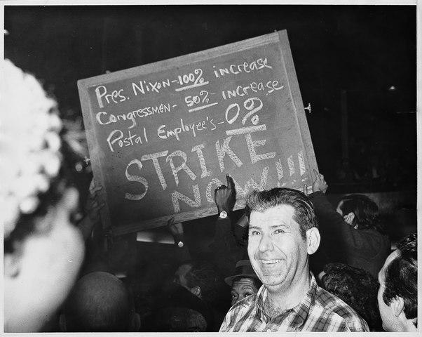 U.S. Post Arbeiter im wilden Streik, März 1970. (Foto: APWUcommunications, Lizenz: CC BY-SA 3.0)