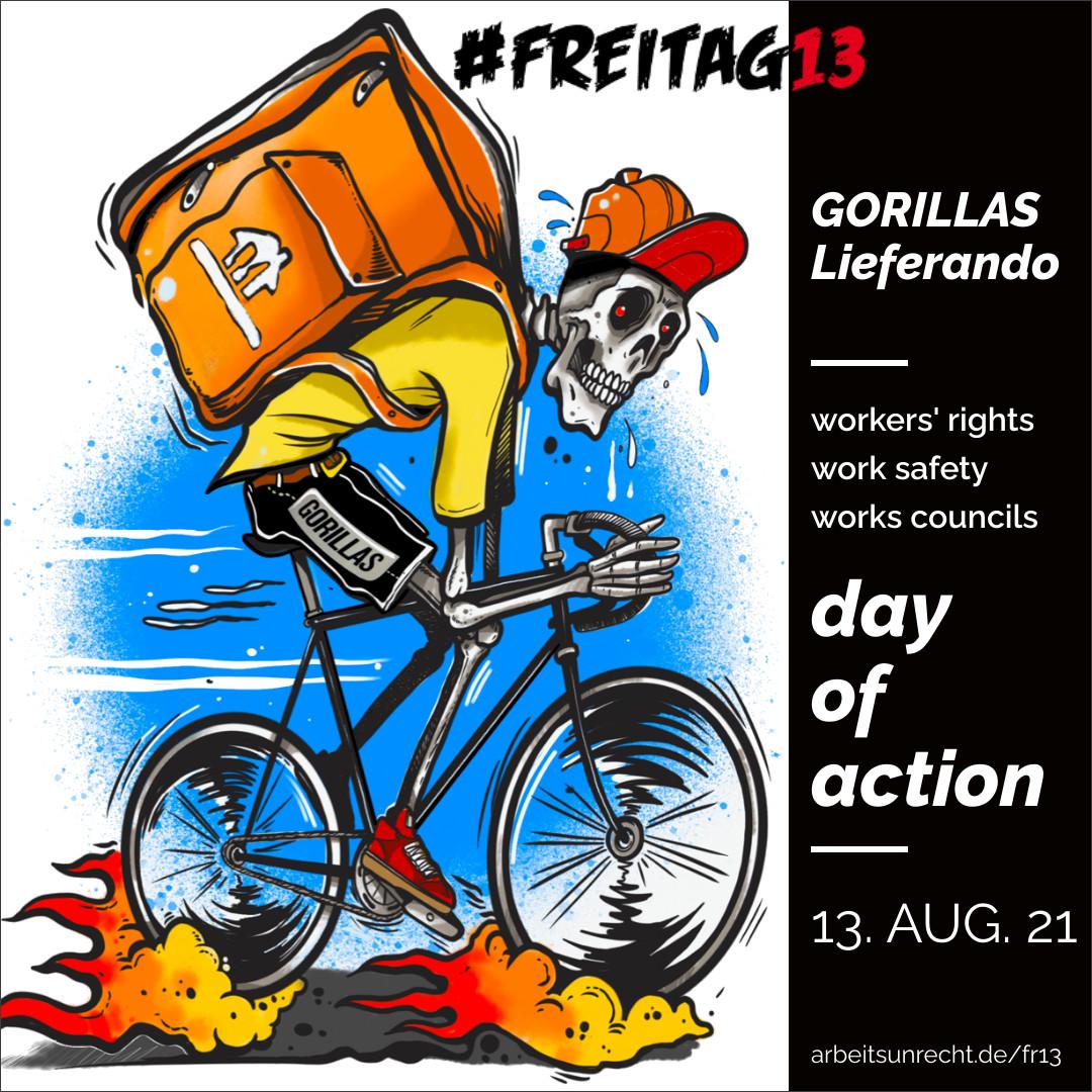 #Freitag13 Gorillas Lieferando / Just Eat instagram picture englisch version