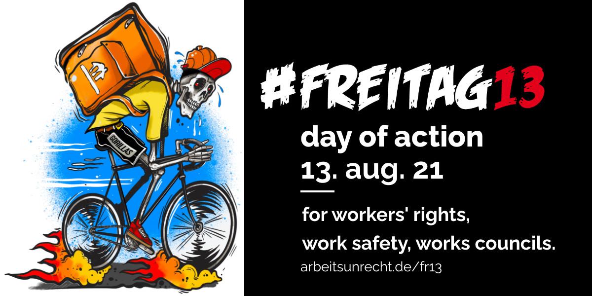 #Freitag13 vs. Gorillas + Lieferando Twitter Post Picture english