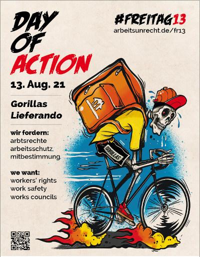 Plakat #Freitag13 Day of action Gorillas + Lieferando