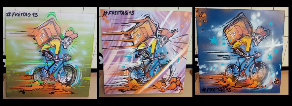 Daniel Zorg Grafik customized: Ghostrider in the Sky. drei Varianten