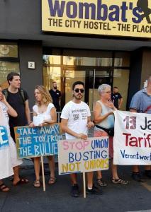 #Wombats Demo gegen Unternehmerwillkür, Union Busting und Auslagerung